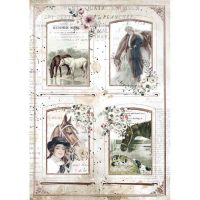 A4 Rice paper packed - Romantic Horses 4 frames by Stamperia (DFSA4581)