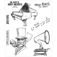 Music Man - BWC003 - The Art of Brett Weldele Stampers Anonymous Cling Rubber Stamp Set 7