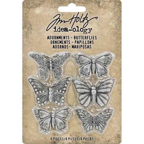 "Butterflies Idea-Ology Metal Adornments 1"" 6/Pkg (TH93689)"