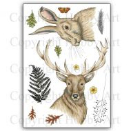 CS169D Stag and Hare Hobby Art Stamps
