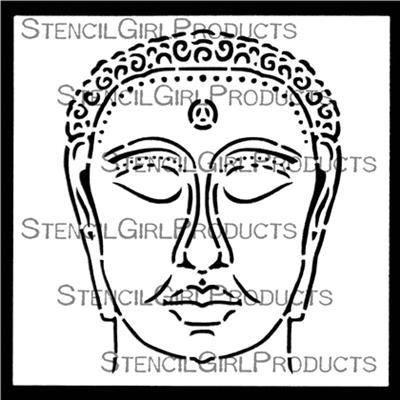 Chinese Garden Buddha Mini designed by Gwen Lafleur for Stencil Girl (4 inch by 4 inch)