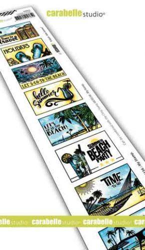 Cling Stamp Edge 8 Labels Hello Summer Carabelle Studio (sed0041)