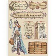 Coloured Wooden frame A5 Lady Vagabond labels Stamperia (KLSP091)