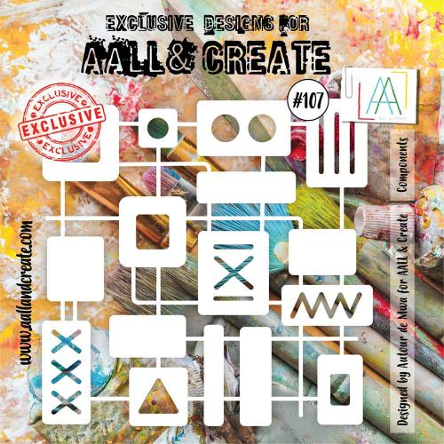 Components (No. 107) 6 inch by 6 inch sized stencil by Autour de Mwa for Aall and Create (AAL10107)
