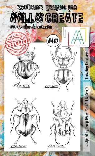 Crawling Creatures (No. 402) A6 sized stamp by Tracy Evans for Aall and Create (AAL00402)