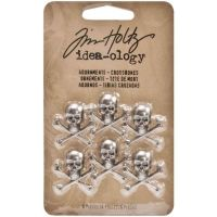 Antique Nickel Skull/Crossbones Idea-Ology Metal Adornments 6/Pkg (19mm by 19mm) TH93089
