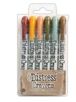Tim Holtz Distress Crayon Set Number 10 (Aged Mahogany, Wild Honey, Tea Dye, Forest Moss, Iced Spruce, Gathered Twigs)