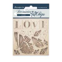 Decorative chips 9.5 x 9.5 cm Love Stamperia (SCB20)