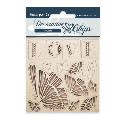Decorative chips 9.5 x 9.5 cm Love Stamperia (SCB20)