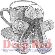 Gingerbread Man and Cocoa - Deep Red Cling Stamp