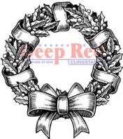 Holly Wreath Cling Rubber Stamp (4X505168) by Deep Red