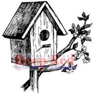Rustic Birdhouse - Deep Red Cling Stamp