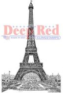 Vintage Paris Eiffel Tower - Deep Red Cling Stamp