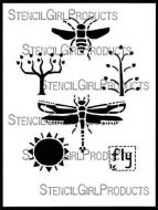 Fly Away Home Stencil (L636) designed by Roxanne Evans Stout for StencilGirl (12 inch by 12 inch)