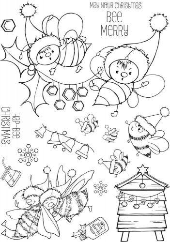 Hap-Bee Christmas A5 stamp set (CS325D) Hobby Art Stamps