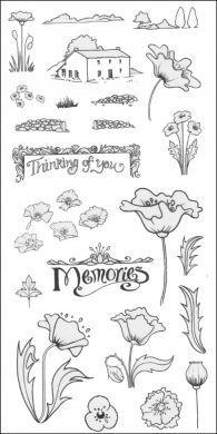 CS044D Hobby Art Stamps-Poppy Scene-it