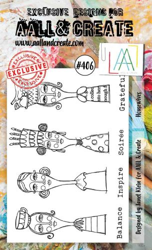 Housewives (No. 406) A6 sized stamp by Janet Klein for Aall and Create (AAL00406)