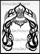 It's All in Your Headdress Stencil (L254) designed by Andrea Matus deMeng for StencilGirl 9 inch by 12 inch