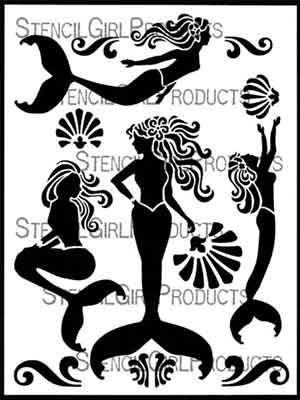 Mermaidia designed by June Pfaff Daley for Stencil Girl (9 inch by 12 inch)