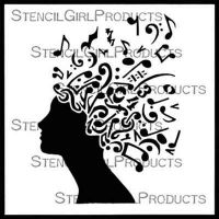 Music Geek designed by Sandee Setliff for Stencil Girl (6 inch by 6 inch)