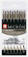 Pigma Micron Set 6 fineliners +1 Pigma Brush  (1 per customer)