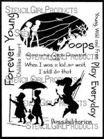 Play Everyday Dress Up Stencil designed by Cat Kerr for Stencil Girl (9 inch by 12 inch)