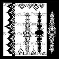 Pointed Scalloped Border Stencil and Mask (L649) designed by Valerie Sjodin for StencilGirl 9 inch by 12 inch