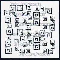 Random Squares Stencil designed by Jessica Sporn for Stencil Girl (6 inch by 6 inch)