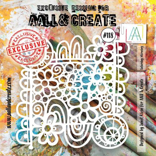Saturday Morning (No. 118) 6 inch by 6 inch sized stencil by Janet Klein for Aall and Create (AAL10118)