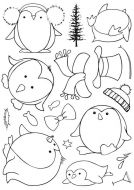 CS217D - Hobby Art Stamps - Sharons Collection - Round Penguins