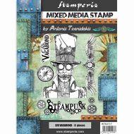 Stamp 15 x 20 cm Sir Vagabond steampunk Stamperia (WTKAT17)