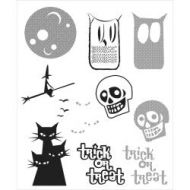 Stampers Anonymous - Tim Holtz Cling Mounted Stamps - Halftone Halloween