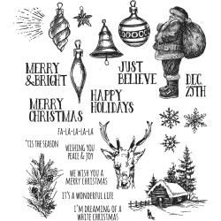 Stampers Anonymous - Tim Holtz Cling Mounted Stamps - Holiday Drawings