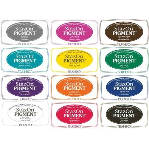 Stazon Pigment ink pads - set of 12 colours (SZ-PIG-12C)