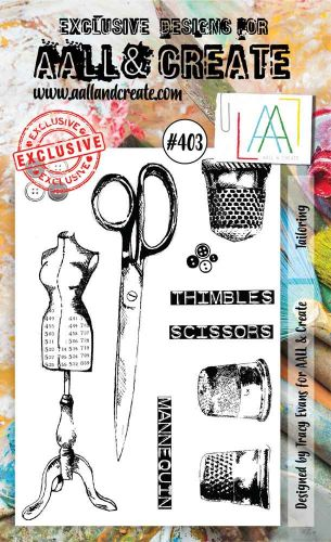 Tailoring (No. 403) A6 sized stamp by Tracy Evans for Aall and Create (AAL00403)