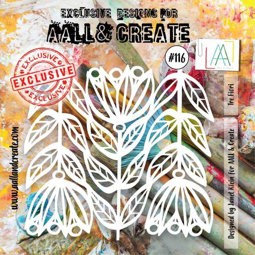 Tre Fiori (No. 116) 6 inch by 6 inch sized stencil by Janet Klein for Aall and Create (AAL10116)