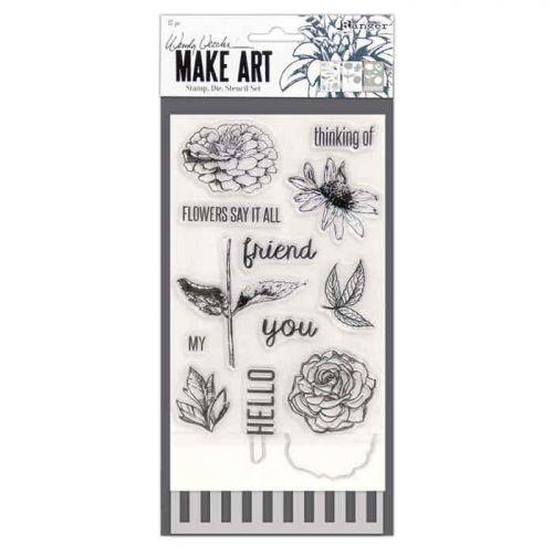 Wendy Vecchi Make Stamp Die Stencil Set - Flowers Say It All