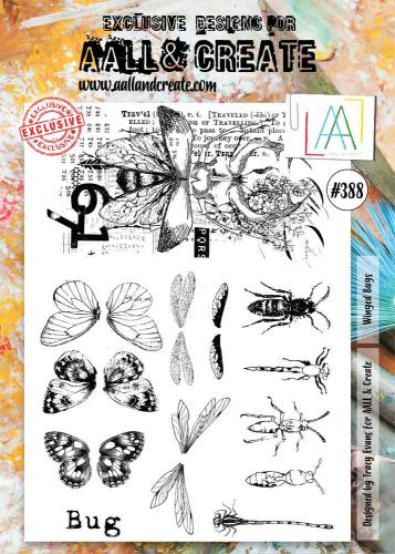 Winged Bugs (No. 388) A4 sized stamp by Tracy Evans for Aall and Create (AAL00388)