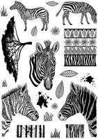 CS229D Hobby Art Stamps - Zebras