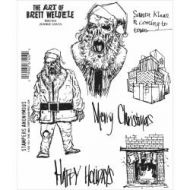 Zombie Santa - BWC014 - The Art of Brett Weldele Stampers Anonymous Cling Rubber Stamp Set 7