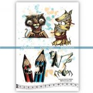 The Biting Jab Collection (KTZ241) A5 Unmounted Rubber Stamp Set by Katzelkraft