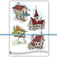 The Houses (KTZ173) A5 Unmounted Rubber Stamp Set by Katzelkraft