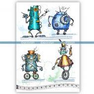 Wheel Robots (KTZ210) A5 Unmounted Rubber Stamp Set by Katzelkraft