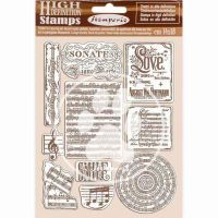 HD Natural Rubber Stamp 14X18 cm - Passion Music (WTKCC197) by Stamperia